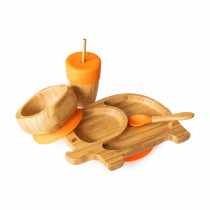 Elephant Plate, Straw Cup, Bowl & Spoon combo in Orange