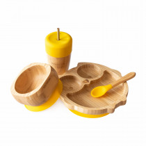 Owl Plate, Straw Cup, Bowl & Spoon combo in Yellow
