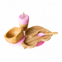 Car Plate, Straw Cup, Bowl & Spoon combo in Pink