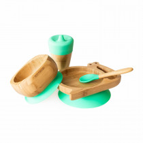 Snail Plate, Feeder Cup, Bowl & Spoon combo in Green