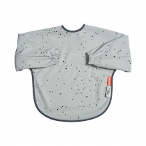 Sleeved bib 18m+ Dreamy dots grey