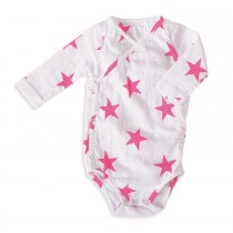 Long Sleeved Bodysuit- Medium Pink Star 6-9 M