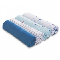 ADEN 4-Pack Classic Muslin Swaddles MAKING WAVES