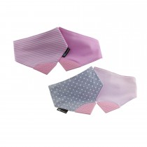 Reversible 2 In 1 Teething Bib Polka Dots & Strips Pink