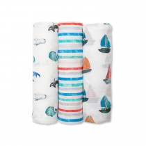 3-Pack Bamboo Muslin Swaddle Blankets - Out to Sea