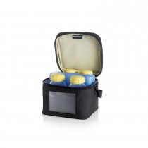 COOLER BAG WITH FOUR BREASTMILK BOTTLES ONE COOLING ELEMENT