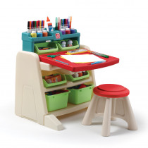 Flip & Doodle Easel Desk With Stool - Teal & Lime