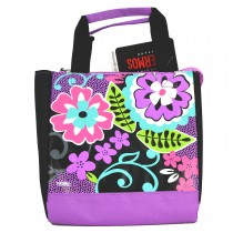 Black Floral Lunch Bag