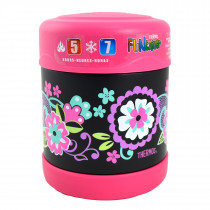 FUNtainer Stainless Steel Food Jar  − Black Floral
