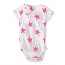 Short Sleeved Bodysuit Medium Pink Star