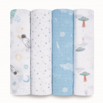 Essentials 4 Pack Swaddles - Space Explorers