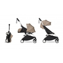 complete BABYZEN stroller YOYO2 0+ and 6+  White Frame & Taupe