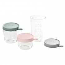 Conservation Jar Glass Set of 3 150ml / 250ml / 400ml-Pink/Eucalyptus Green/Light Mist
