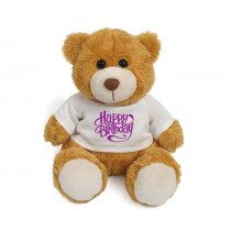 Plush Teddy Golden Brown with Happy Birthday on White