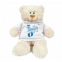 Cream bear with blue  It's a Boy! on trendy white hoodie