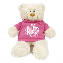 Teddy Cream with Happy Birthday on Pink Hoodie
