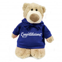 Mascot Bear with Congratulations on Blue