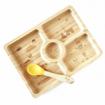 Bamboo Plate + Spoon - Square Yellow