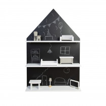 Blackboard House Wall Shelf + Miniature Furniture 8 Pieces