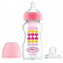 9oz/270 ml PP Wide-Neck Options+ Pink Hearts Bottle w/ Sippy Spout (+L3 Nipple in Bottle), 1-Pack
