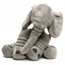 Elephant Plush Pillow Grey
