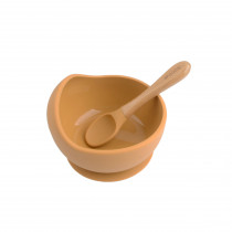 Silicone Bowl + Spoon Set - Camel
