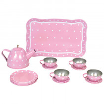 Tin Tea Set with Case - Pink
