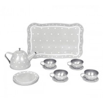 Tin Tea Set with Case - Grey