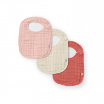 Cotton Muslin Classic Bib 3 Pack-Rose Petal