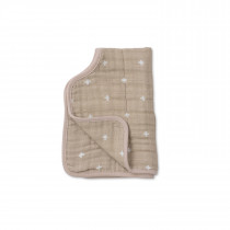 Cotton Muslin Burp Cloth - Taupe Cross