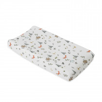 Cotton Muslin Changing Pad Cover - Forest Friends