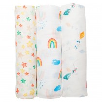 3-Pack Bamboo Muslin Swaddle Blankets - High in the Sky