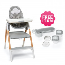 Sit-To-Step Highchair-Grey/White + FREE 1 Easy-Prep Food Press Set Grey