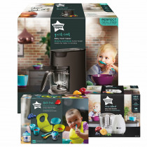 Tommee Tippee Quick Cook Baby Food Steamer Blender (Black) and Baby Food Blender and Weaning Kit