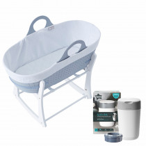 Baby's Nest Bundle 1 (contains Sleepee Baby Moses Basket, Grobag Newborn Swaddle,Nappy Disposal Sangenic Tec Bin)