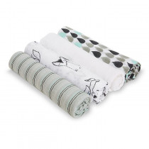 Aden Muslin 4-Pack Swaddles Trotting Fox