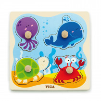 Big Wooden Knob Puzzle - Sea