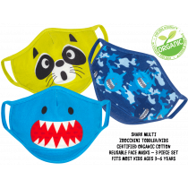Kids Organic Reusable Cloth Face Masks 3 Pc Set - Shark Multi