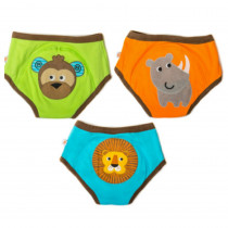3 Piece Organic Potty Training Pants Set - Boys - Safari Friends