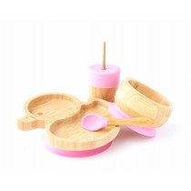 Duck Plate, Straw Cup, Bowl & Spoon combo in Pink
