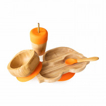 Car Plate, Straw Cup, Bowl & Spoon combo in Orange