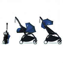 complete BABYZEN stroller YOYO2 0+ and 6+  Black Frame & Air France Blue