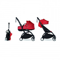 Complete BABYZEN stroller YOYO2 FRAME Black &  0+ newborn pack Red and 6+ color pack