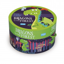 Book And Giant Puzzle Round Box -Dragons In The Forest