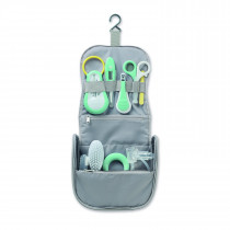 Hanging Toiletry Pouch With 9 Accessories - Grey