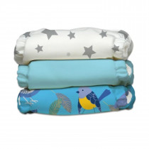 3 Diapers 6 Inserts Little Twitter II One Size Hybrid AIO