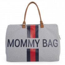 Mommy Bag Big - Grey Stripes Blue/Red