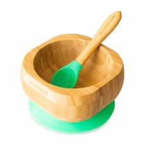Baby Bowl and Spoon Set: Bamboo Suction Bowl with Spoon - Green