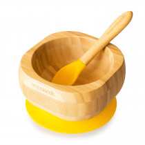 Baby Bowl and Spoon Set: Bamboo Suction Bowl with Spoon - Yellow