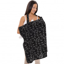 Nursing Cover- BLACK/WHITE FLOWING FANS